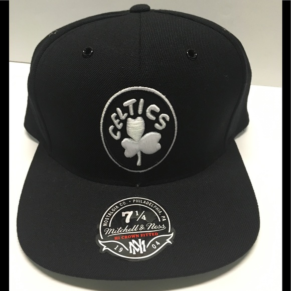 2ddc1e40e26c9d Black Boston Celtics fitted hat various sizes. NWT. Mitchell & Ness